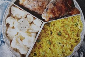 Chicken, Cauliflower with Rice.