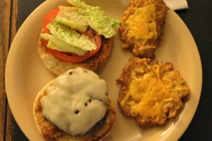 My cauliflower fitters w/cheesebugers.